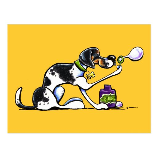 American English Foxhound Blowing Bubbles Postcard