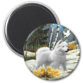 American Eskimo A Winter Scene cards Fridge Magnets