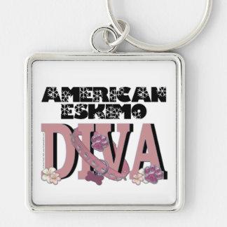 American Eskimo DIVA Silver-Colored Square Key Ring