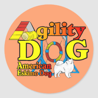 American Eskimo Dog Agility Gifts Classic Round Sticker