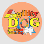 American Eskimo Dog Agility Gifts Round Stickers