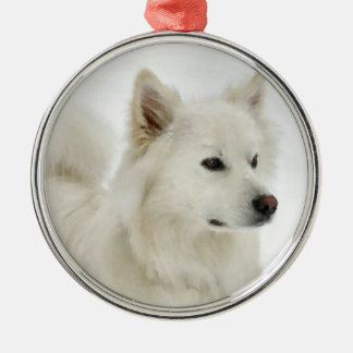 American Eskimo Dog Art Silver-Colored Round Decoration
