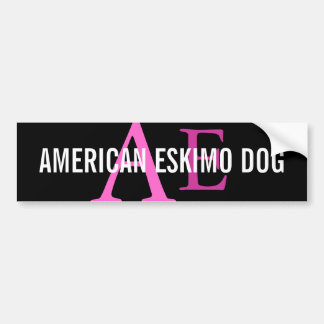 American Eskimo Dog Breed Monogram Car Bumper Sticker