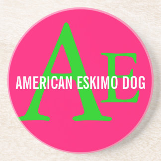 American Eskimo Dog Breed Monogram Beverage Coaster