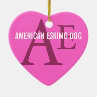 American Eskimo Dog Breed Monogram Ceramic Heart Decoration
