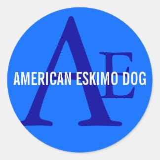 American Eskimo Dog Breed Monogram Round Sticker