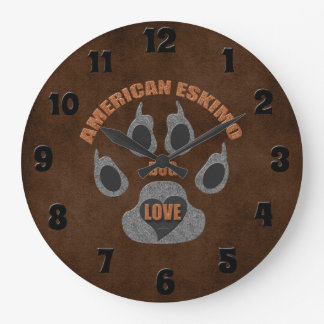 American Eskimo Dog Breed Paw Print Clock