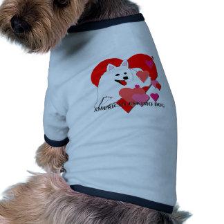 American Eskimo Dog Cartoon Hearts Doggie T Shirt