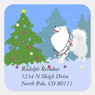 American Eskimo Dog Christmas Address Return Label Square Sticker