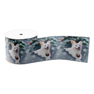 American Eskimo Dog Christmas Grosgrain Ribbon