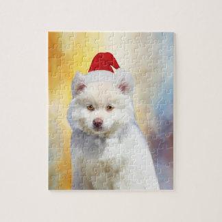 American Eskimo Dog Christmas Santa Hat Jigsaw Puzzle