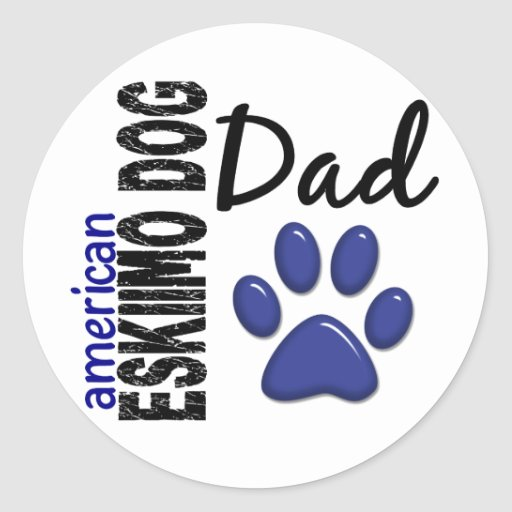 American Eskimo Dog Dad 2 Round Sticker