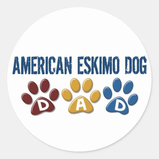 AMERICAN ESKIMO DOG DAD Paw Print Stickers