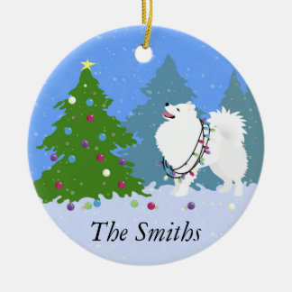 American Eskimo Dog Decorating Christmas Tree Christmas Ornament