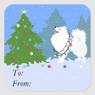 American Eskimo Dog Decorating Christmas Tree Square Sticker