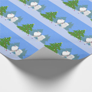 American Eskimo Dog Decorating Christmas Tree Wrapping Paper