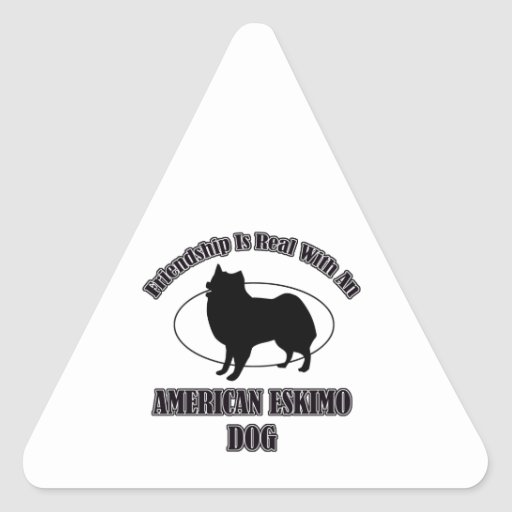 AMERICAN ESKIMO DOG DOG DESIGNS TRIANGLE STICKERS