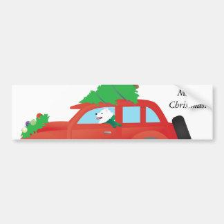 American Eskimo Dog Driving Car w/ Christmas tree Bumper Sticker
