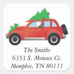 American Eskimo Dog Driving Car w/ Christmas tree Square Sticker
