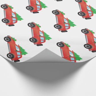 American Eskimo Dog Driving Car w/ Christmas tree Wrapping Paper