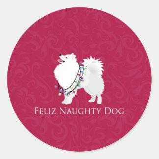 American Eskimo Dog Feliz Naughty Dog Christmas Round Sticker