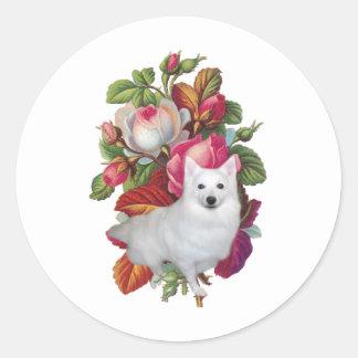 American Eskimo Dog Floral Round Sticker
