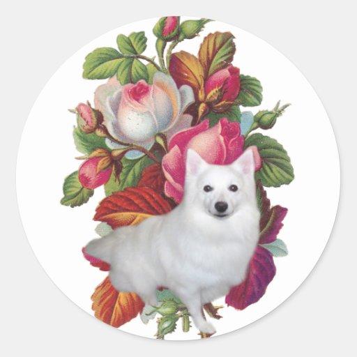 American Eskimo Dog Floral Round Stickers