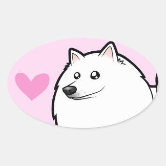 American Eskimo Dog / German Spitz Love Oval Sticker