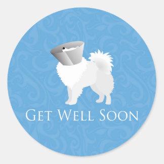 American Eskimo Dog Get Well Soon Design Round Sticker