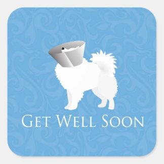 American Eskimo Dog Get Well Soon Design Square Sticker