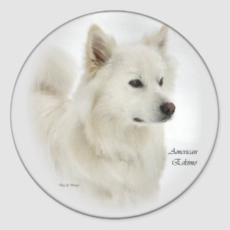 American Eskimo Dog Gifts Art Round Sticker