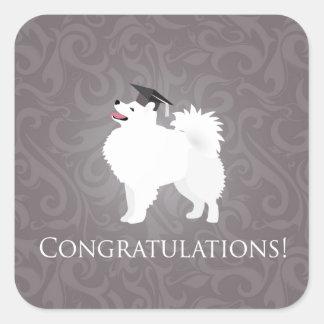 American Eskimo Dog Graduation Design Square Sticker