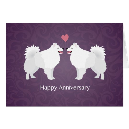 American Eskimo Dog Happy Anniversary Design Card