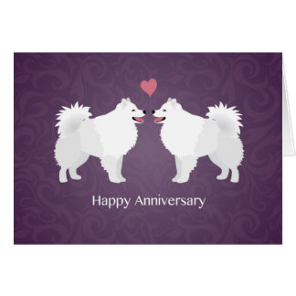 American Eskimo Dog Happy Anniversary Design Greeting Card