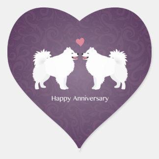 American Eskimo Dog Happy Anniversary Design Heart Sticker