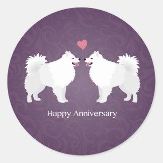 American Eskimo Dog Happy Anniversary Design Round Sticker