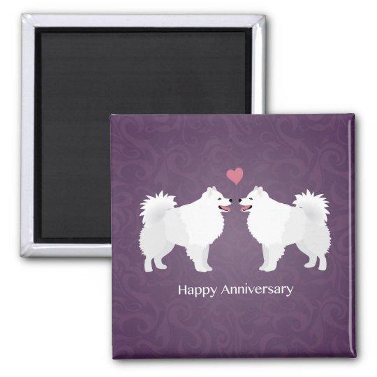American Eskimo Dog Happy Anniversary Design Square Magnet