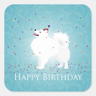 American Eskimo Dog Happy Birthday Design Square Sticker