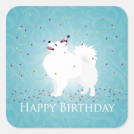 American Eskimo Dog Happy Birthday Design Square Stickers
