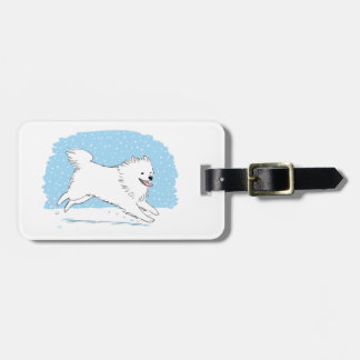 American Eskimo Dog - Happy Eskie Holiday Luggage Tag