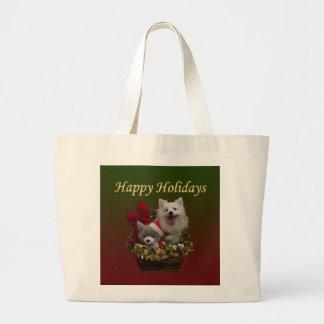 American Eskimo Dog Happy Holidays Bags