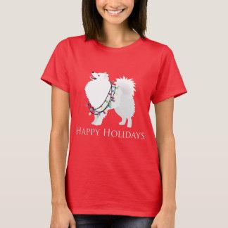 American Eskimo Dog Happy Holidays Design T-Shirt