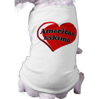American Eskimo Dog Heart Sleeveless Dog Shirt
