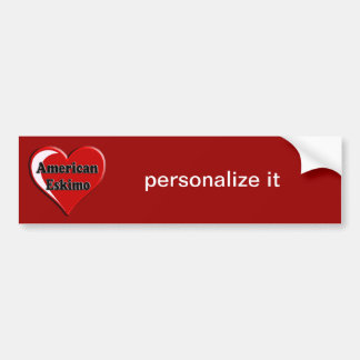 American Eskimo Dog Heart for Dog Lovers Bumper Sticker