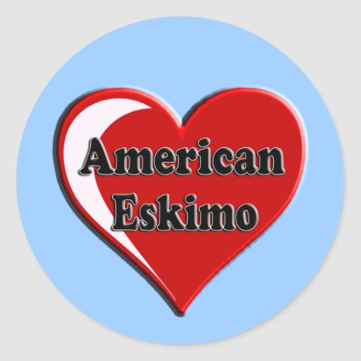 American Eskimo Dog Heart for Dog Lovers Round Stickers