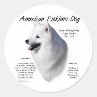 American Eskimo Dog History Design Classic Round Sticker