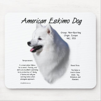 American Eskimo Dog History Design Mousepad