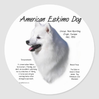 American Eskimo Dog History Design Round Sticker