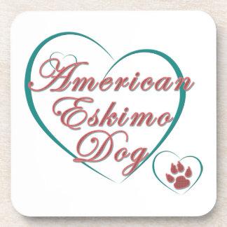 American Eskimo Dog Love Beverage Coasters