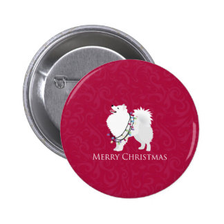 American Eskimo Dog Merry Christmas Design 6 Cm Round Badge